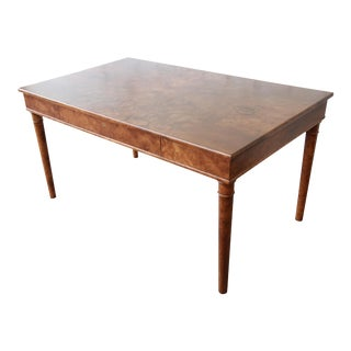 Dessin Fournir Louis Philippe Style Burled Olive Wood Library Table or Writing Desk For Sale