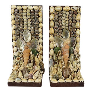 Shell Encrusted Bookends - a Pair For Sale