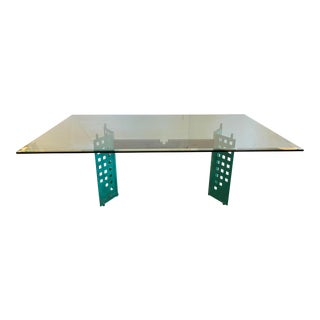 Custom Contemporary Glass + Metal Dining Table For Sale