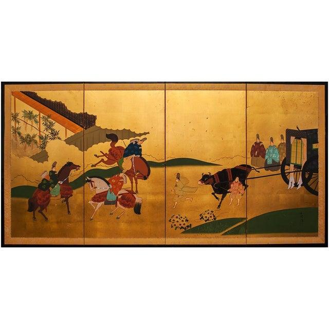 "Shōwa Era ""The Tale of Genji"" Gold-Leaf Japanese Byobu Screen For Sale - Image 12 of 13"