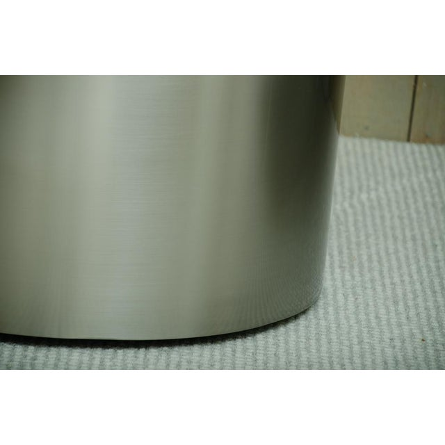 Mid-Century Modern Pairof Milo Baughman Brushed Steel Round Occasional Tables For Sale - Image 3 of 6