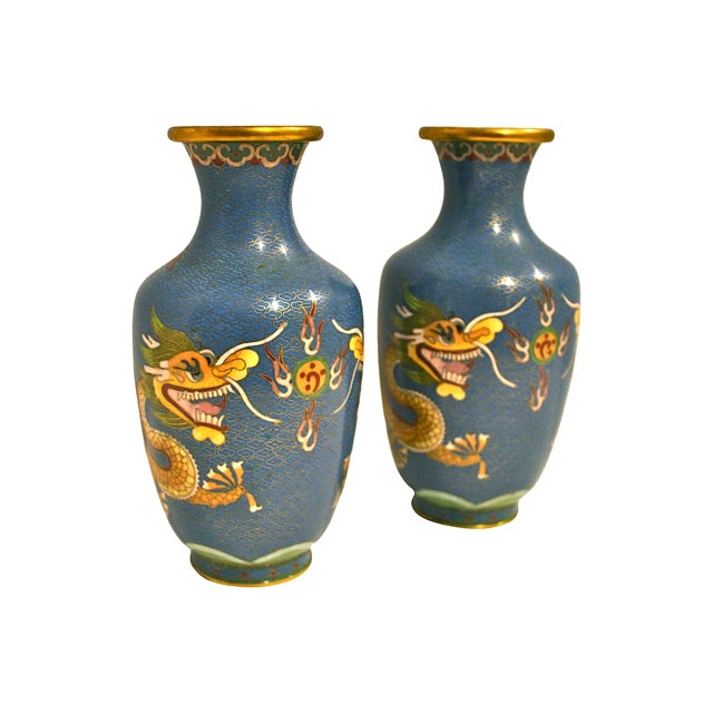 Blue Cloisonne Dragon Vases - A Pair - Image 5 of 5