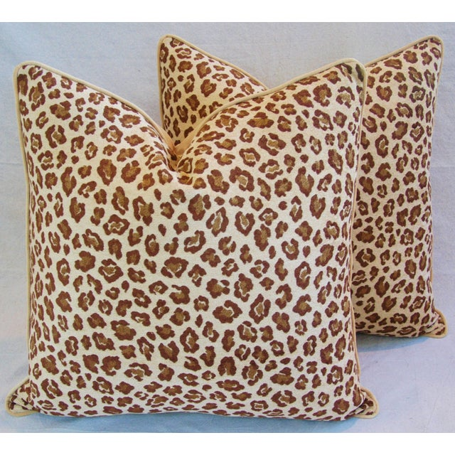 Pair of large, custom-made pillows in a vintage, ultra-soft, woven velvet-and-chenille-blend, safari leopard fabric....
