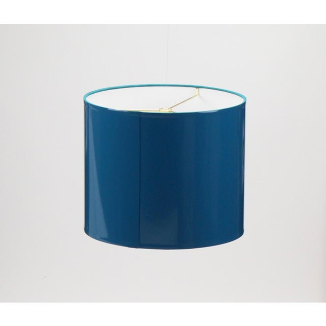 Metal Large Teal High Gloss Drum Lampshade For Sale - Image 7 of 7