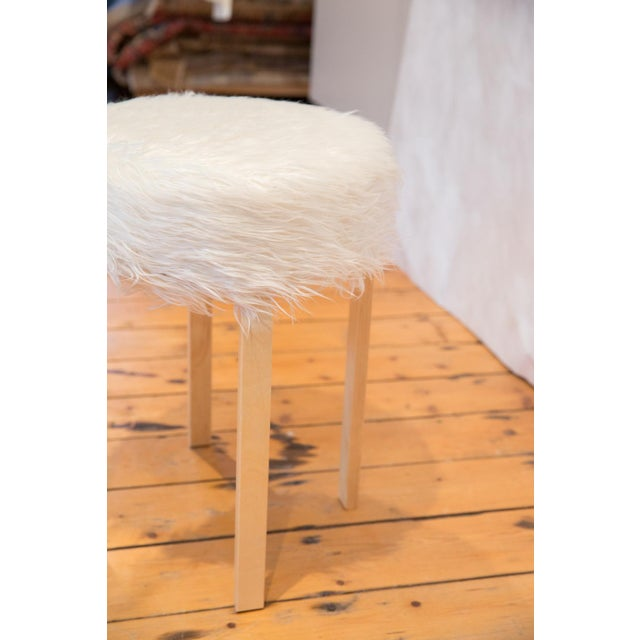 Old New House Faux Fur Alvar Aalto Stye Stool For Sale - Image 4 of 7