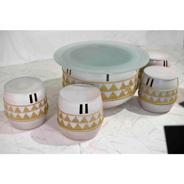 Vintage Korean Ceramic Outdoor/Indoor Table With 4 Stools by Woon Bo Ceramic Lab Kim Ki-Chang For Sale - Image 4 of 13