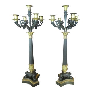19th Century French Bronze and Metal Napoleonic Candelabras - a Pair For Sale