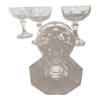 Set of Four Antique Cut Crystal Champagne Glasses For Sale