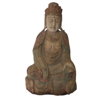 Vintage Wooden Kuan Yin Sculpture