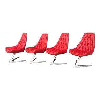 Mid Century Modern Space Age Chromcraft Sculpta Star Trek Red Chairs- Set of 4 For Sale