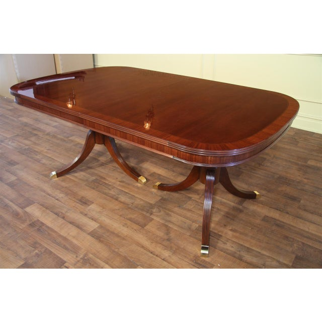 Formal Double Pedestal Mahogany Dining Table - Image 2 of 7