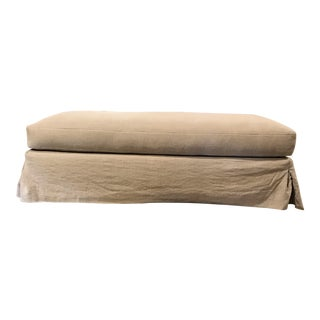 Cisco Brothers Natural Tan Linen Slipcovered Ottoman For Sale