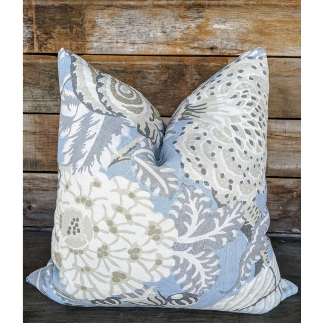 Mitford Floral Gray and Blue Pillow Cover For Sale - Image 4 of 4