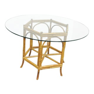Mid Century Modern Bamboo and Glass Top Dining Table