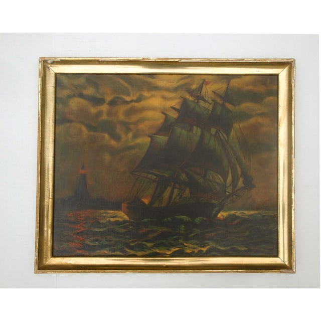 Antique Sailing Ship Oil Painting - Image 2 of 5