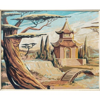 Vintage Japanese Pagoda Paint by Numbers For Sale