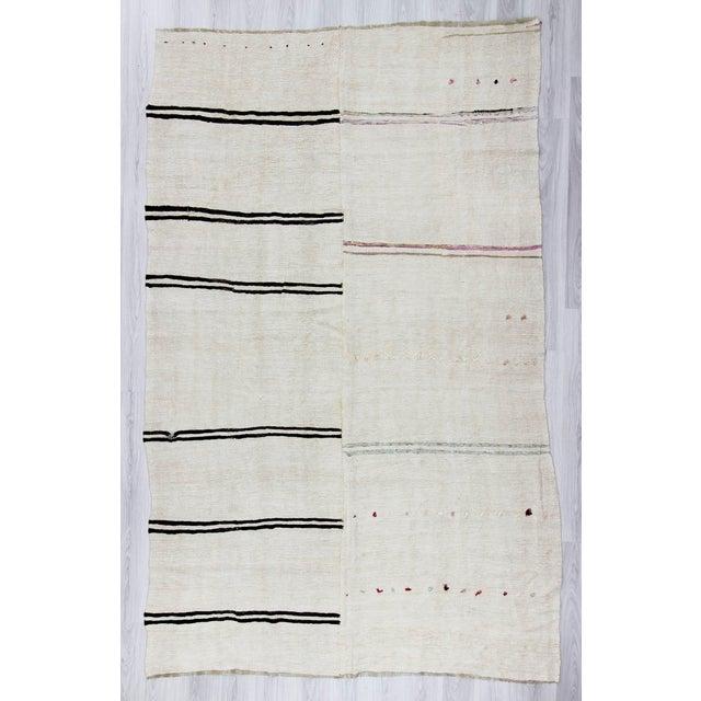 """Vintage Decorative Turkish Hemp Kilim Rug - 6'9"""" X 11'1"""" - Image 2 of 6"""
