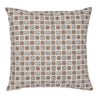 Contemporary Schumacher Mottley Grid Pillow in Wren - 16ʺW x 16ʺH For Sale