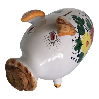 Italian Hand Made & Hand Painted Cork Nose Piggy Bank For Sale