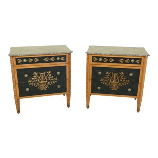 Pair 3 Drawer Italian Style Paint Decorated Marble Top Commodes For Sale