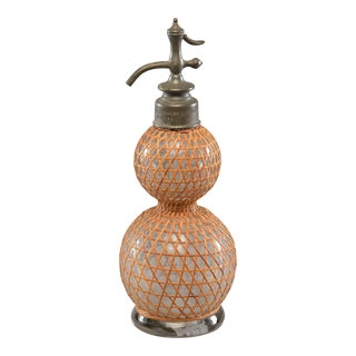 French Rattan Covered Syphon Bottle For Sale