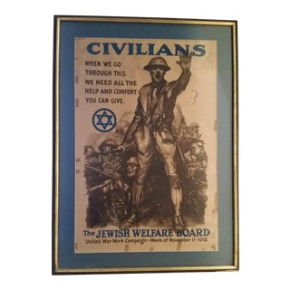 Early 20th Century Antique World War 1 National Jewish Welfare Board Recruitment Poster For Sale