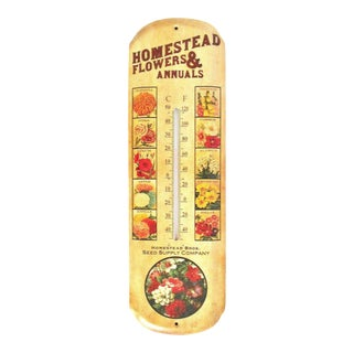 Vintage Flowers & Seed Supply Company Wall Thermometer
