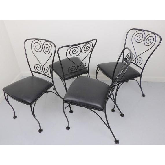 Wrought Iron Chairs 4 Patio Antique Chair Set Metal Black Satin on Black Vinyl Vintage Homecrest Shabby Chic Mid Century...