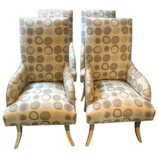 Cool Set of 4 Custom Dining Chairs With Donghia Upholstery For Sale
