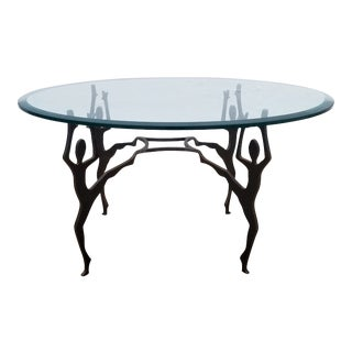1990s Vintage Art Hand-Crafted Brutalist Metal Coffee Table For Sale