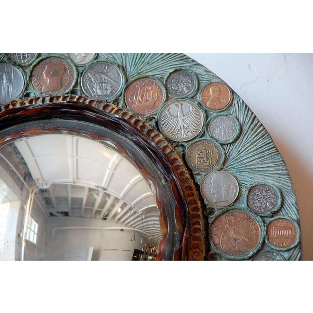 Small Decorative Convex Mirror in the Style of Line Vautrin For Sale In Los Angeles - Image 6 of 8