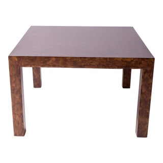 1970s Mid-Century Modern Parsons Style Tortoise-Hued Wood Coffee Table For Sale