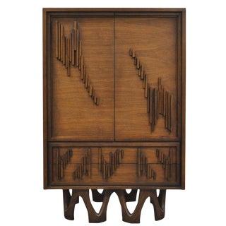1970s Mid Century Modern Brutalist Walnut Armoire Dresser For Sale