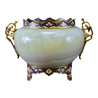Antique Barbedienne-Style Cloisonne Enamel & Onyx Jardiniere Planter For Sale