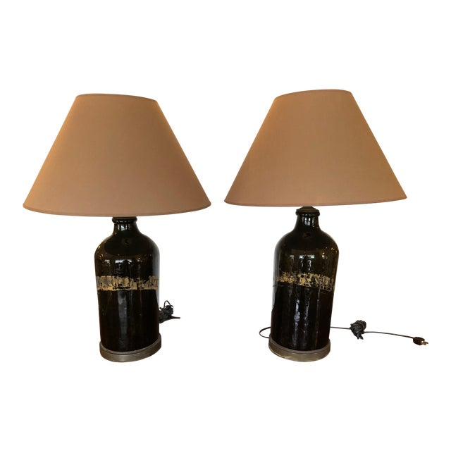 Large Antique English Apothecary Bottle Lamps With Shades - a Pair For Sale