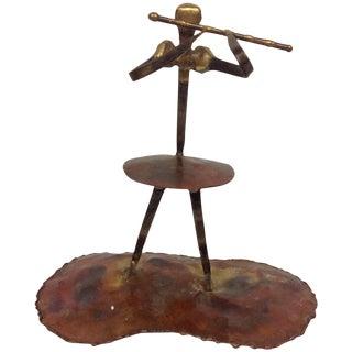 Vintage Torch Cut Copper & Nail Flutist Sculpture For Sale