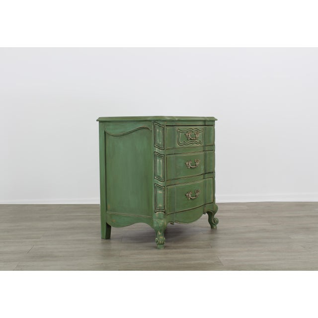 French Provincial Pair of French Provincial Nightstands, Mid Century Nightstands, Green Nightstand, Shabby Chic Nightstands For Sale - Image 3 of 11