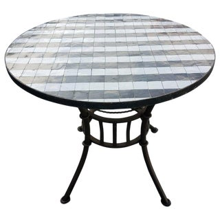"Moroccan Black / White Mosaic Top Wrought Iron 36"" Table For Sale"