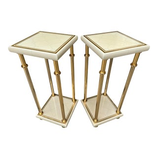 Italian Ivory White Lacquer 24k Gold Plated Tables Stands - a Pair For Sale