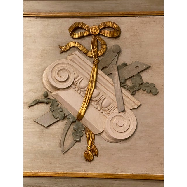 19th Century French Painted Trumeau Mirror For Sale - Image 4 of 9