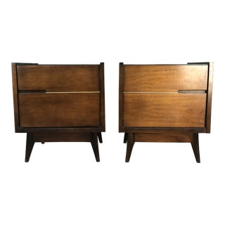 1960s Mid Century Modern Nightstands With Storage Cabinets - a Pair For Sale