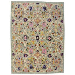 "New Colorful Modern Turkish Oushak Rug - 11'9"" X 16' For Sale"