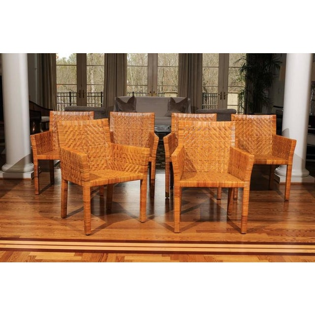 Brown Terrific Restored Set of Six Cane Chairs in the Style of Jean-Michel Frank For Sale - Image 8 of 11