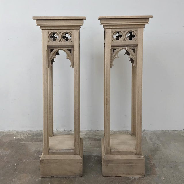 Pair 19th Century Gothic Stripped Oak Pedestals For Sale - Image 4 of 11