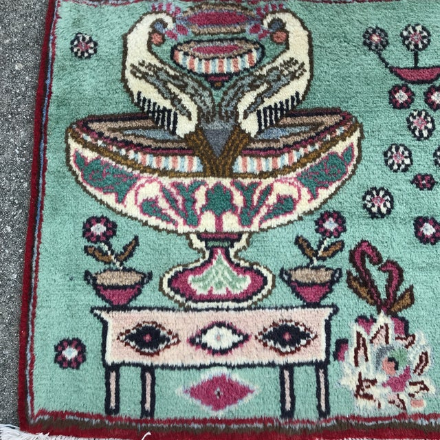 """Persian 1980s Persian Pictorial Yalameh Rug - 1'6"""" X 2'7"""" For Sale - Image 3 of 13"""