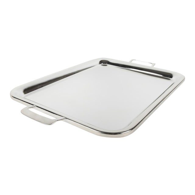 Large Vintage English Plated Serving Tray / Barware For Sale