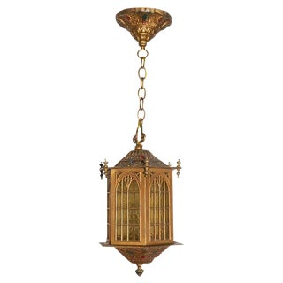 1910s Gothic Style Bradley and Hubbard Gold Metal Hall Lantern For Sale