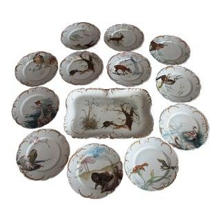 18th Century Haviland & Co Limoges Wildlife Scenes Dinnerware Set - 12 Pieces For Sale