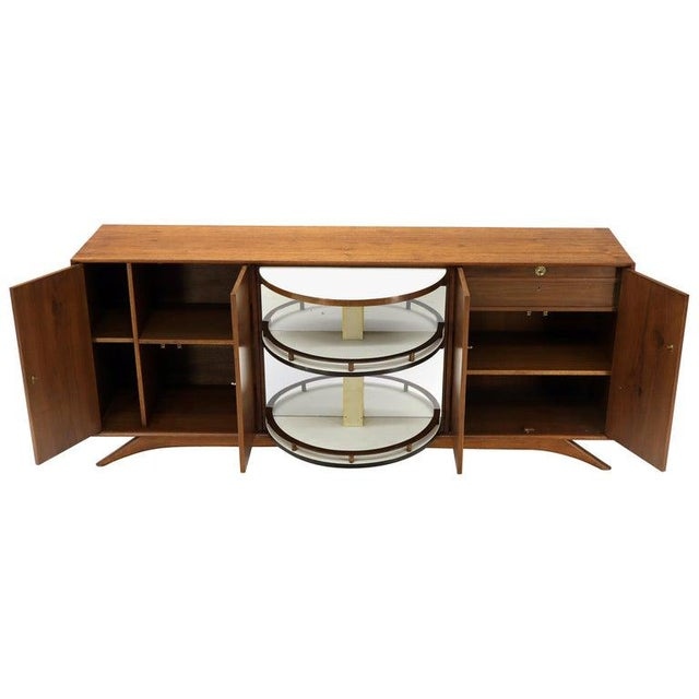 Swivel Centre Bar Walnut Mid-Century Modern Credenza Sideboard Sculptural Legs For Sale - Image 13 of 13