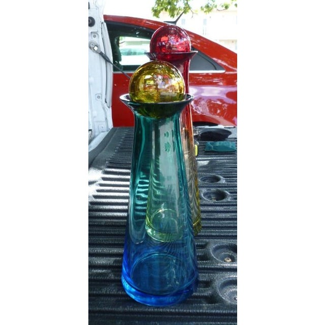 1970s Vintage Barbini for Murano Italian Futuristic Stoppered Bottles - A Pair For Sale In Miami - Image 6 of 11